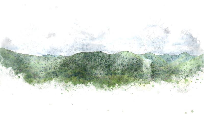 Monte colorido da montanha e paisagem da árvore no fundo de pintura da aquarela ilustração do vetor