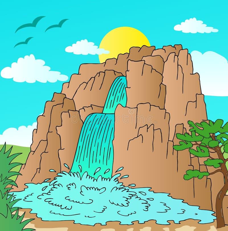 Monte com paisagem das cachoeiras ilustração do vetor