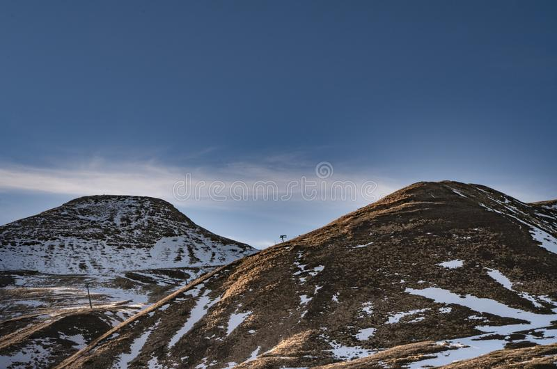 Monte Cupolino in winter with little snow stock photography