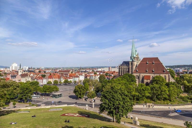 Monte da catedral de Erfurt no Thuringia, Alemanha fotos de stock royalty free