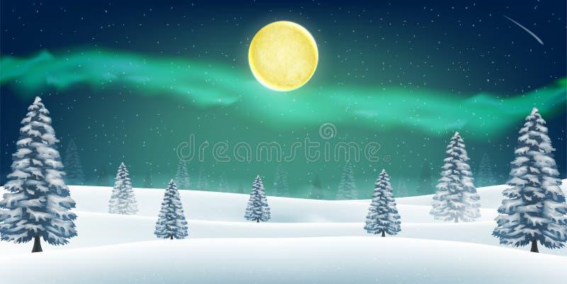 Monte da floresta da neve do inverno da noite com Aurora no céu ilustração royalty free