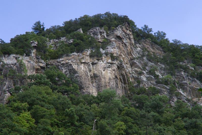 Monte da rocha com árvores fotografia de stock royalty free