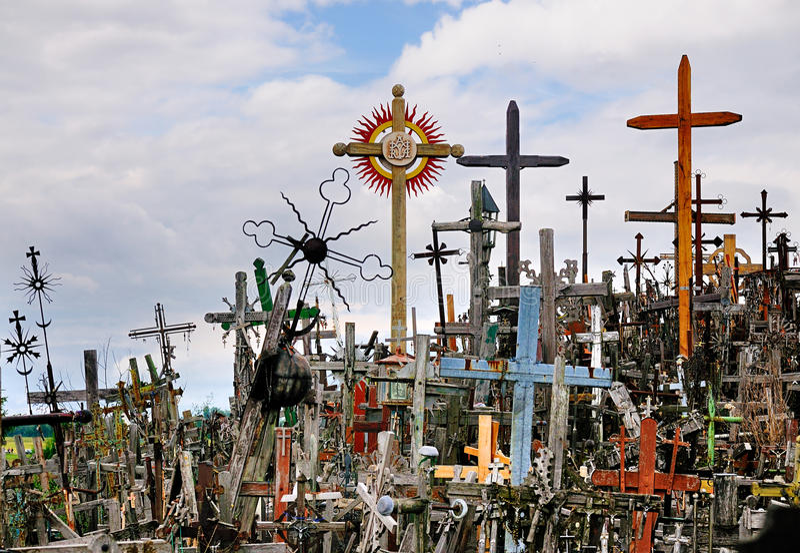 Monte das cruzes, Lithuania fotos de stock royalty free