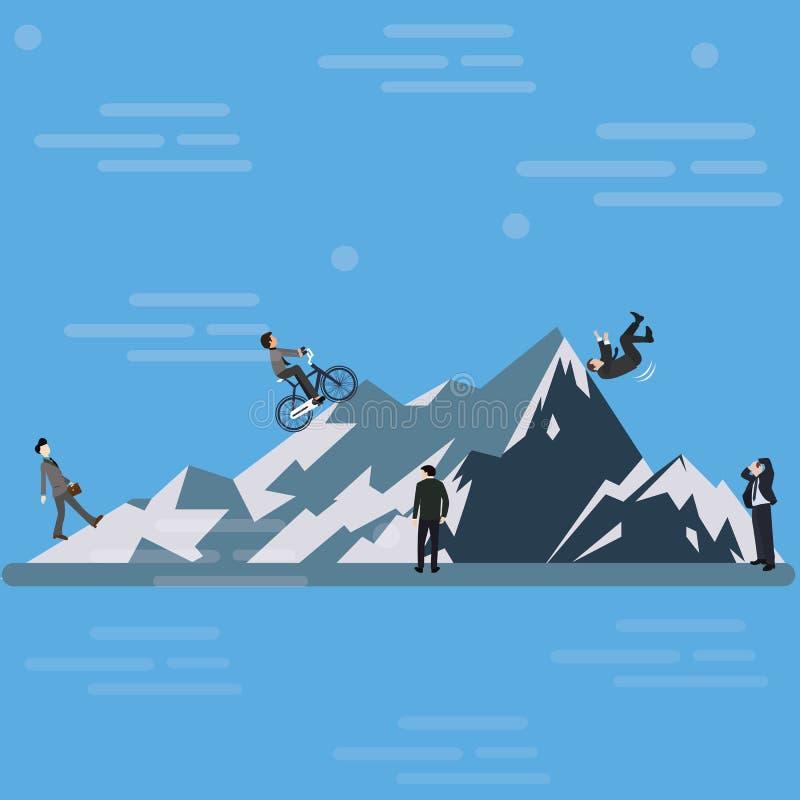 Monte de escalada da montanha do homem de negócios até o desafio superior do negócio adiante ilustração royalty free
