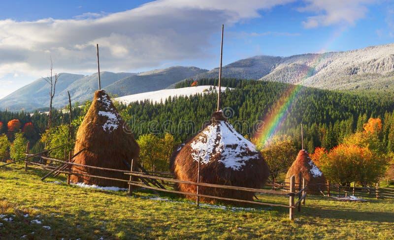 Monte de feno no outono imagens de stock