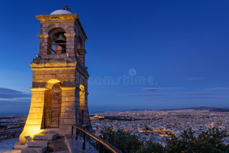 Monte de Lycabettus em Atenas imagem de stock