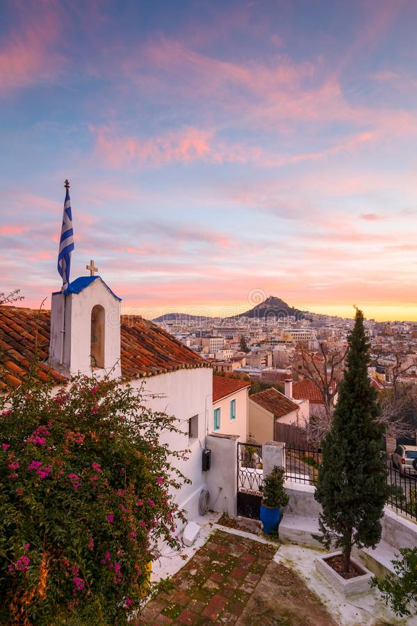Monte de Lycabettus em Atenas foto de stock royalty free