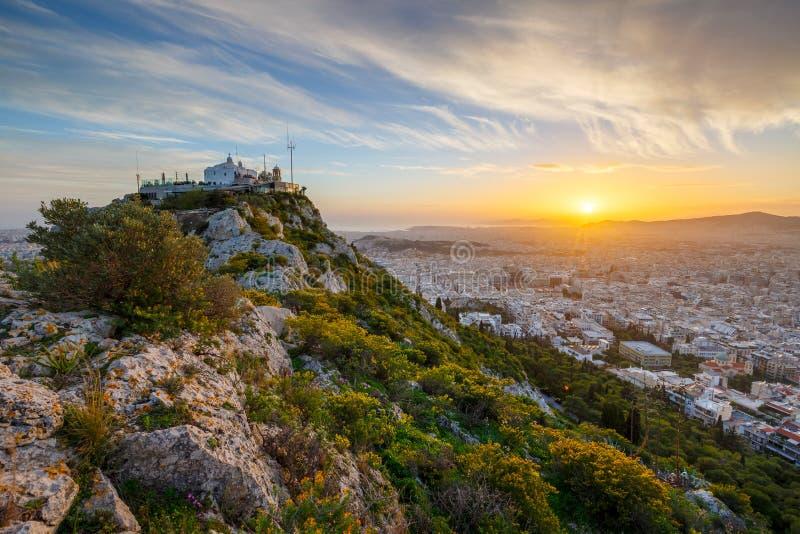 Monte de Lycabettus em Atenas fotos de stock