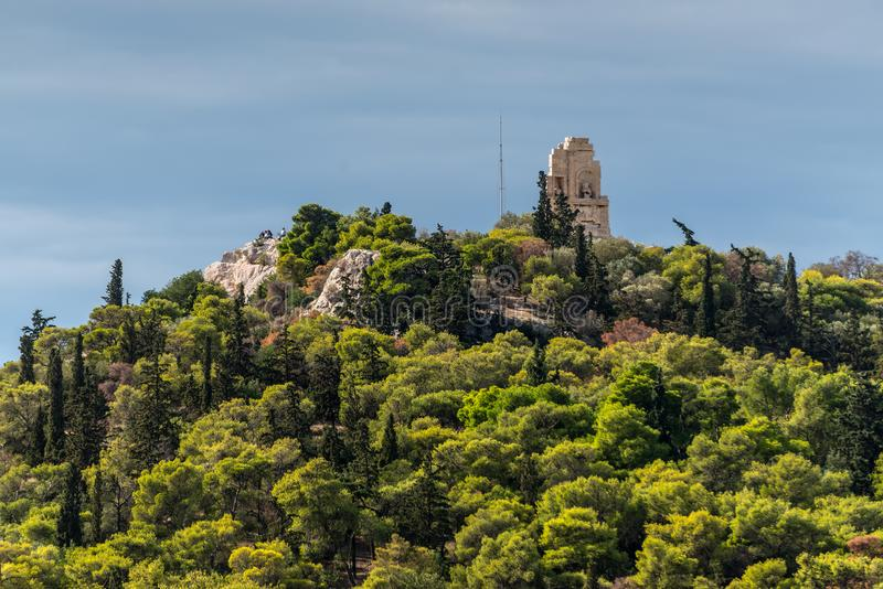 Monte de Mouseion em Atenas, Grécia, a sudoeste da acrópole foto de stock