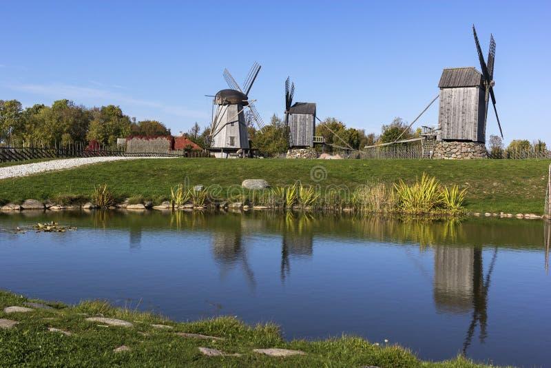Monte do moinho de vento de Angla na ilha de Saaremaa em Estônia foto de stock
