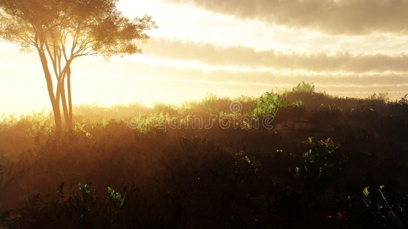 Monte do por do sol da fantasia com fundo majestoso das nuvens ilustração royalty free