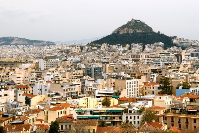 Monte e Atenas de Lycabettus fotos de stock
