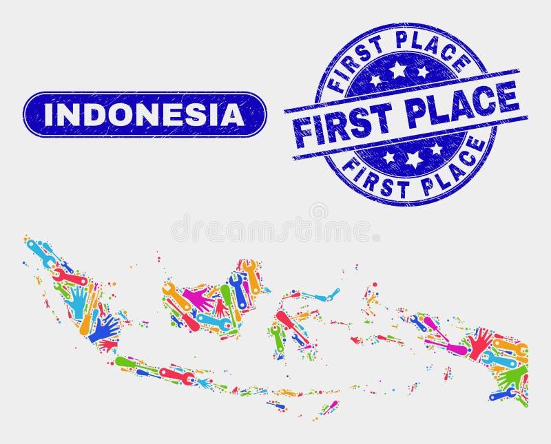 Monte el mapa de Indonesia y rasguñó los primeros sellos del lugar ilustración del vector