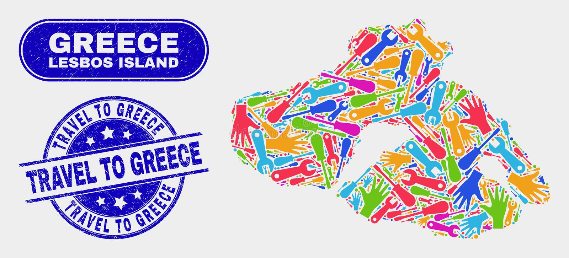 Monte el mapa de la isla de Lesbos y el viaje del Grunge los sellos del sello de Grecia ilustración del vector