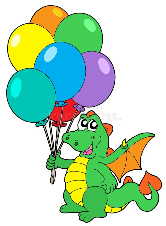 monte en ballon le dragon mignon illustration stock