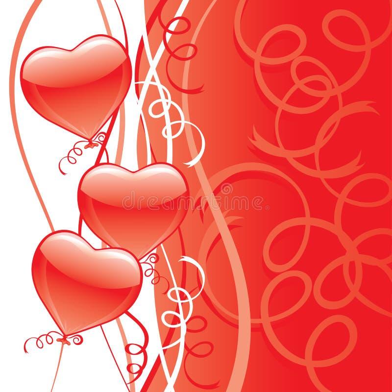monte en ballon le rouge de réception de coeur illustration libre de droits