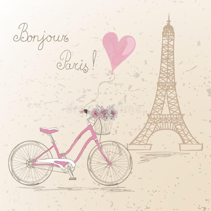 Monte en bicicleta con una cesta llena de flores en la torre Eiffel del fondo en París stock de ilustración