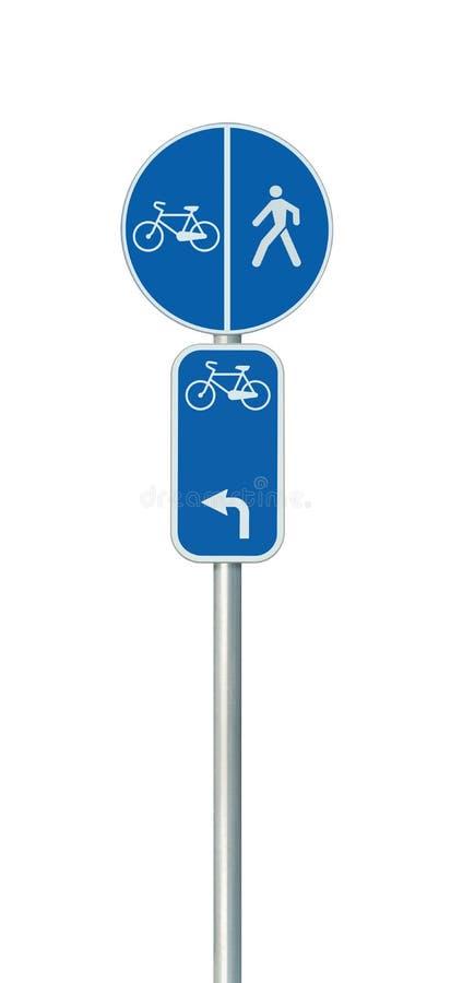 Monte en bicicleta el número de la ruta, el ciclo y la señal de tráfico peatonal del carril, bici vertical aislada detallada gran libre illustration