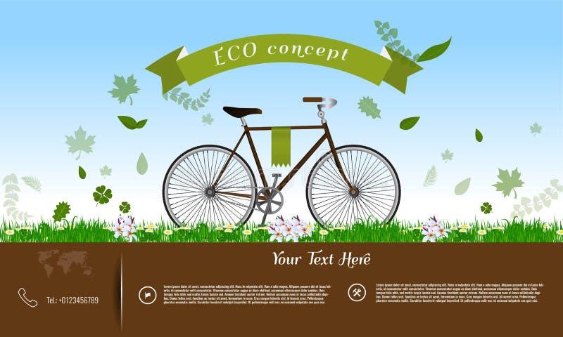 Monte en bicicleta en la hierba verde con las hojas, cinta, infographics del concepto de Eco libre illustration