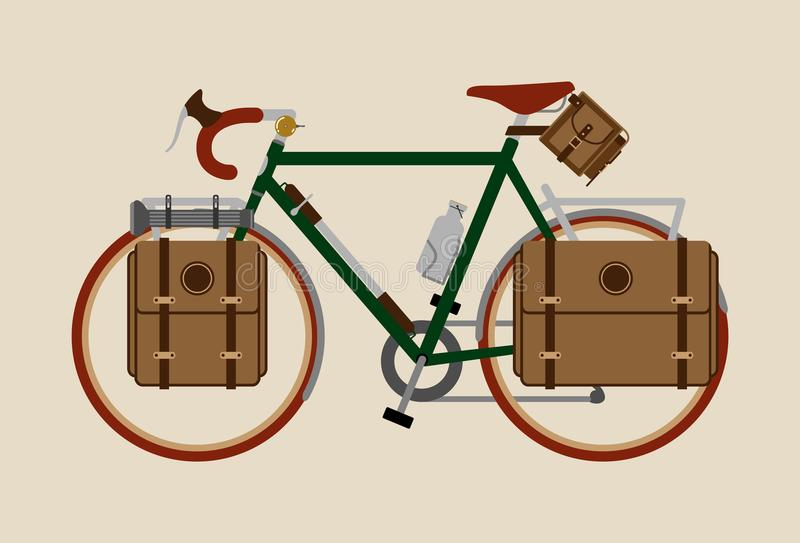 Monte en bicicleta viajar de ciclo de la bici gráfica del vintage del ejemplo verde oscuro stock de ilustración