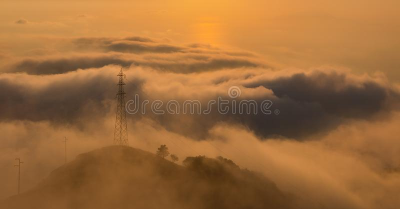 Monte Faito IV. A picture of the sun setting over Monte Faito royalty free stock photography