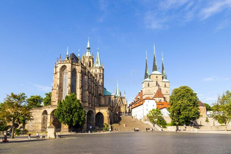 Monte famoso dos DOM de Erfurt Alemanha imagens de stock