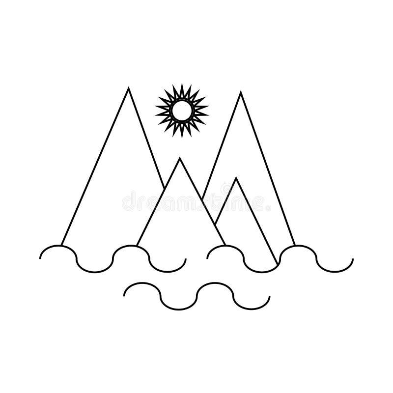 Monte Fitz Roy, ícone do Patagonia, estilo do esboço ilustração do vetor