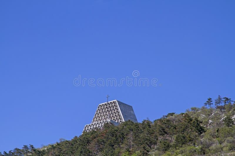 Monte Grisa圣所在的里雅斯特附近的 免版税库存照片