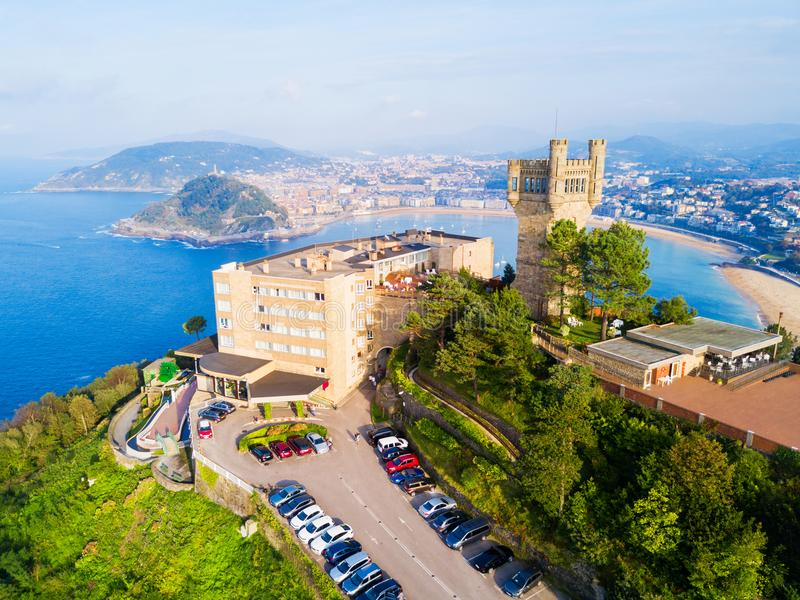 Monte Igueldo Park, San Sebastian. Monte Igueldo Tower, viewpoint and Amusement Park on the Monte Igueldo mountain in San Sebastian or Donostia city in Spain stock image