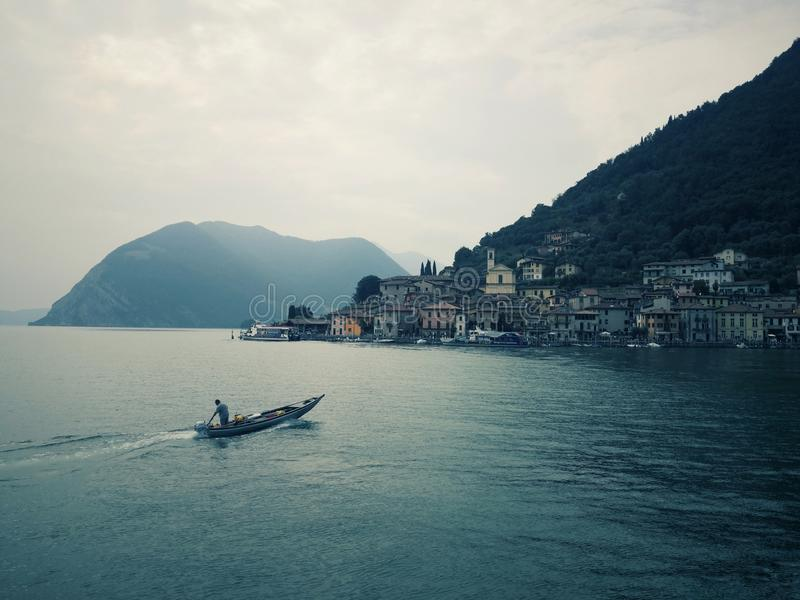 Monte Isola on Lake Isio, Lombardy Italy royalty free stock photo