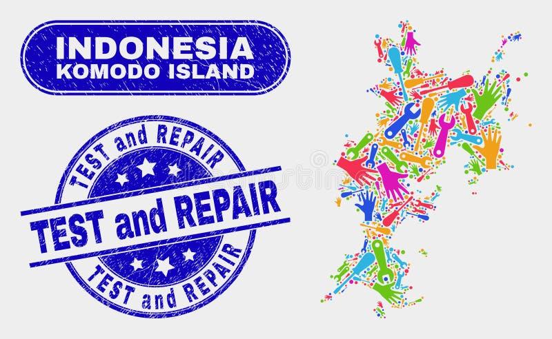 Monte los sellos del sello del mapa de la isla de Komodo y de la prueba y de la reparación del Grunge libre illustration