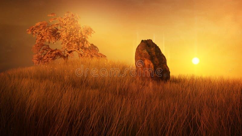 Monte mágico do por do sol ilustração stock