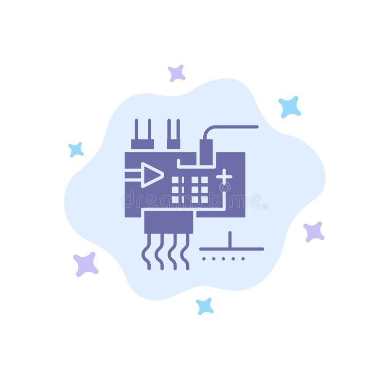 Monte, modifique para requisitos particulares, electrónica, ingeniería, icono azul de las piezas en fondo abstracto de la nube stock de ilustración