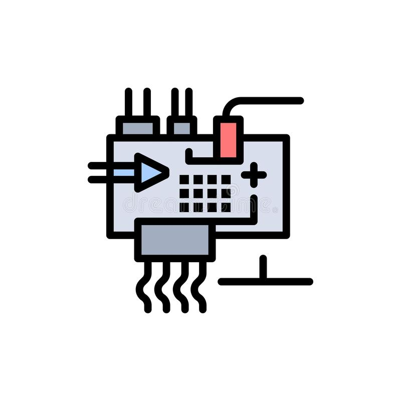 Monte, modifique para requisitos particulares, electrónica, ingeniería, icono plano del color de las piezas Plantilla de la bande ilustración del vector