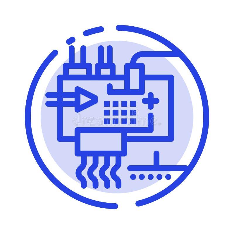 Monte, modifique para requisitos particulares, electrónica, ingeniería, línea de puntos azul línea icono de las piezas libre illustration