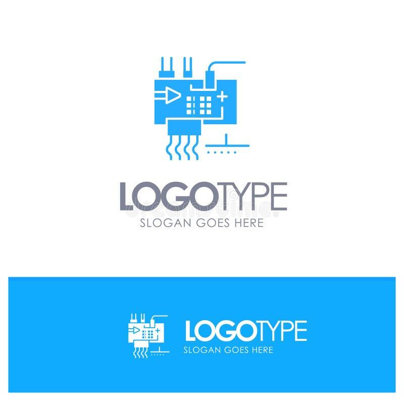 Monte, modifique para requisitos particulares, electrónica, ingeniería, logotipo sólido azul de las piezas con el lugar para el t libre illustration