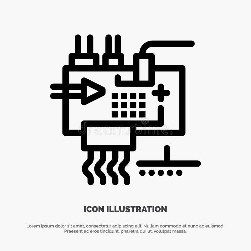 Monte, modifique para requisitos particulares, electrónica, ingeniería, piezas alinean vector del icono stock de ilustración