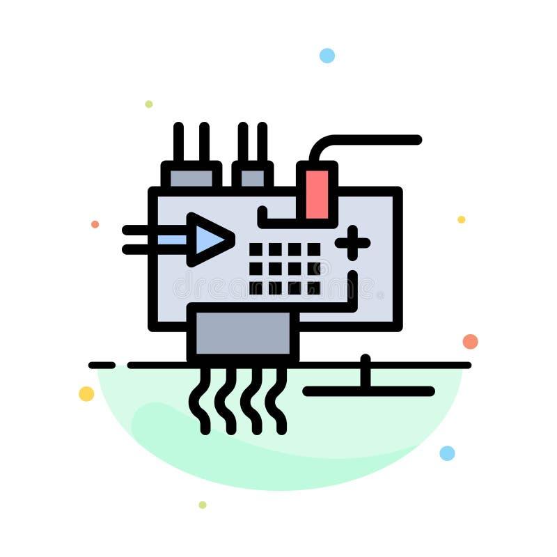 Monte, modifique para requisitos particulares, electrónica, ingeniería, piezas resumen la plantilla plana del icono del color stock de ilustración