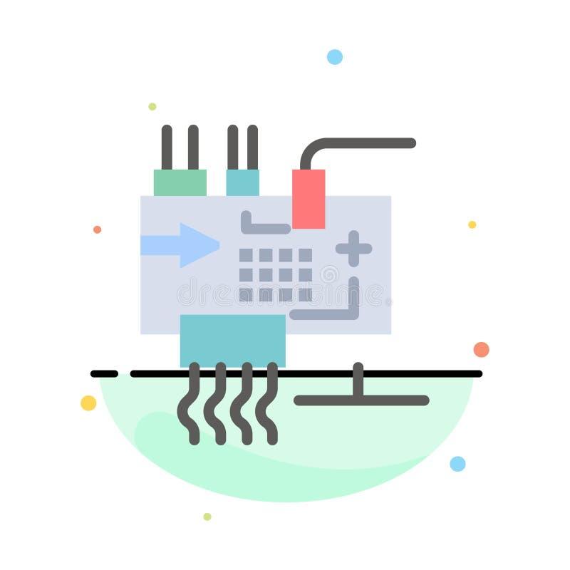 Monte, modifique para requisitos particulares, electrónica, ingeniería, piezas resumen la plantilla plana del icono del color ilustración del vector