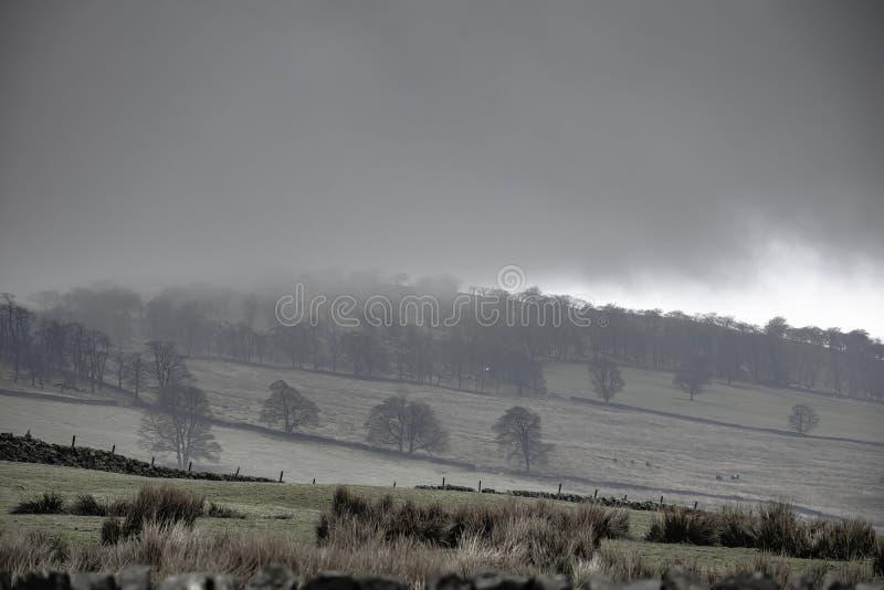Monte nevoento no campo britânico fotos de stock