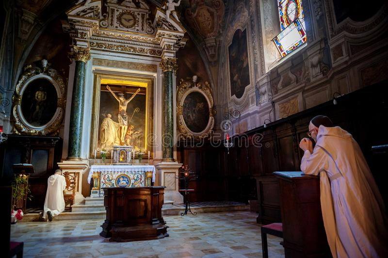 MONTE OLIVETO, TUSCANY. The Baroque interior and frescoes of the Abbey of Monte Oliveto Maggiore is. Near Siena. Italy. royalty free stock photos