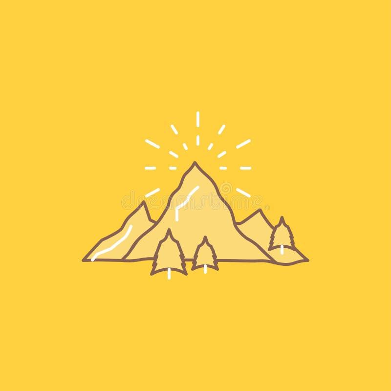 monte, paisagem, natureza, montanha, linha lisa ícone enchido dos fogos de artifício Bot?o bonito do logotipo sobre o fundo amare ilustração stock
