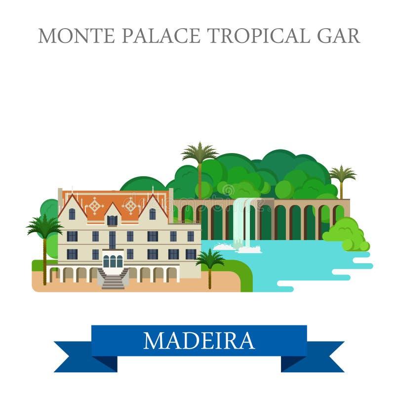 Monte Palace Tropical Garden in Vlakke vecto van Madera royalty-vrije illustratie