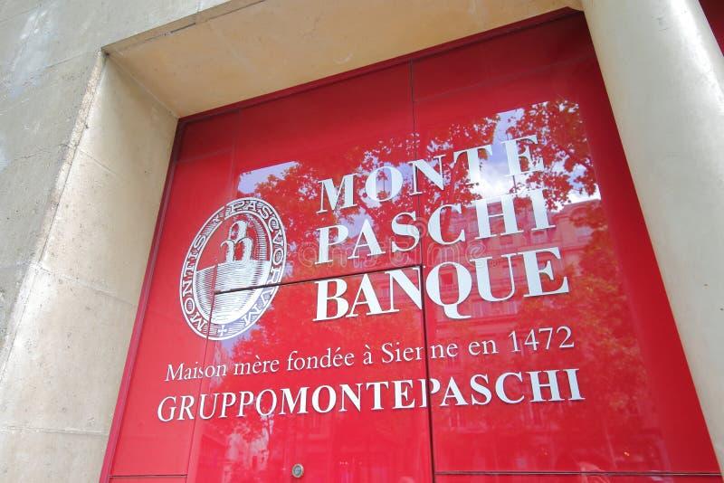 Monte Paschi Siena Bank Frankrijk royalty-vrije stock afbeeldingen