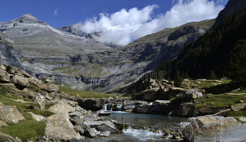 Monte Perdido. And Ordesa Canyon Natinal Park, in Pyrenees, Spanish royalty free stock photos