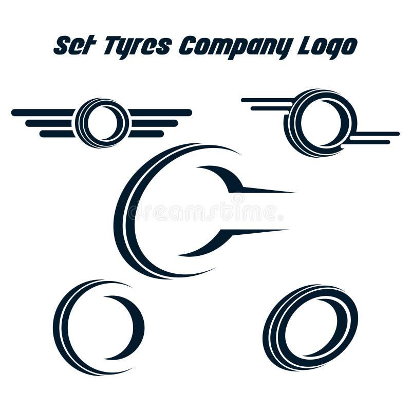 Monte pneus a loja Logo Design - monte pneus o negócio que marca, ícones da loja do logotipo do pneumático, ícones do pneu, ícone ilustração royalty free