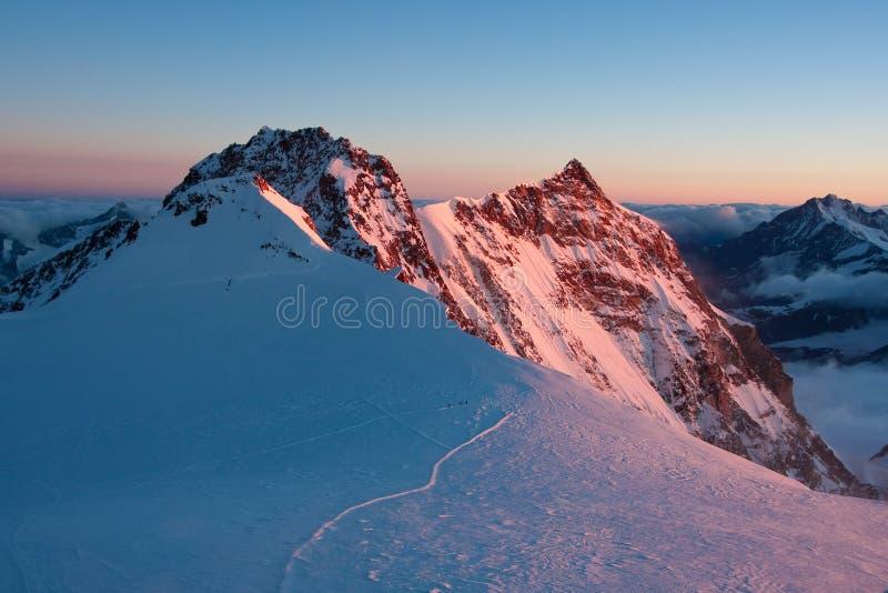 Monte Rosa Morgen stockfotografie
