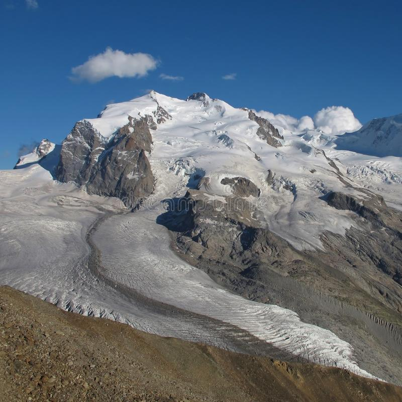 Monte Rosa seen from Gornergrat. Monte Rosa. View from Gornergrat, Zermatt. Switzerland stock photography
