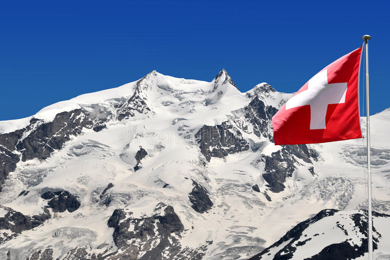 Monte Rosa with Swiss flag - Swiss Alps. Beautiful mountain Monte Rosa with Swiss flag - Swiss Alps stock photos