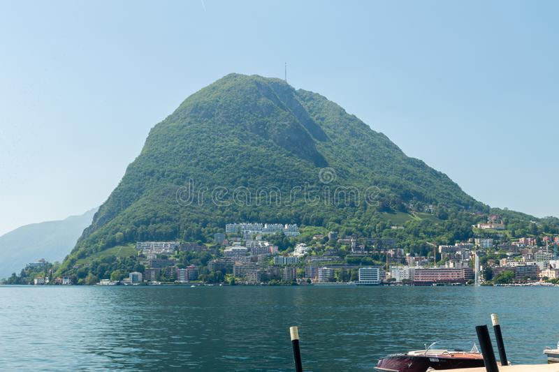 Monte San Salvatore. Mountain in the Lepontine Alps above Lake Lugano stock images